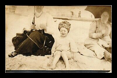 Us Sepia Rppc Postcard Little Girl On Beach Squinting Eyes On Bright Sunny Day