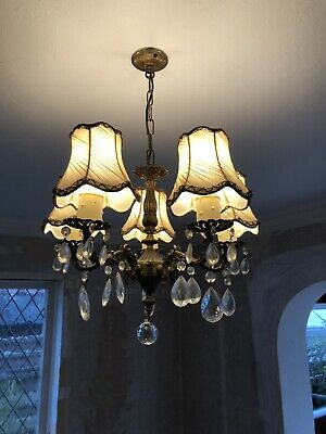 Antique Vintage Brass French Rococo Chandelier Central Ceiling light