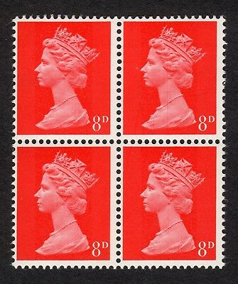 GB: 8d bright vermillion Machin definitives, block of 4 unmounted mint