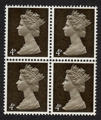 GB: 4d deep olive brown Machin definitives centre band block of 4 unmounted mint