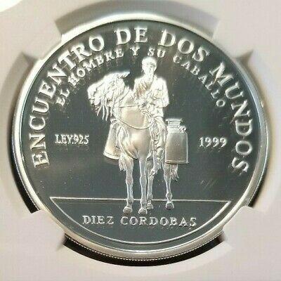1999 Nicaragua Silver 10 Cordobas Rider With Milk Cans Ngc Pf 69 Ultra Cameo