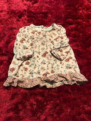 Pink floral long sleeved super soft dress baby girls 3-6 months