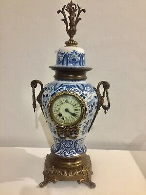 Antique French Deft Blue And White Porcelain Clock By Japy.   C1890