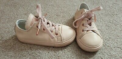 Girls Pink Rose Gold Leather Converse Trainers Infant Size 9