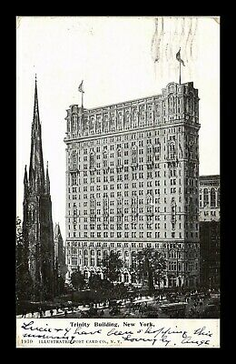 Us Black & White Postcard Trinity Building & Cathedral In Background New York