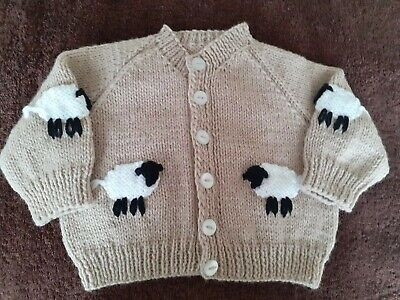 Brand NEW Hand Knit Baby Boys Cardigan With WOOLLY SHEEP (0-3 mths)