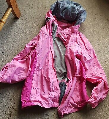 Girls Age 13 Pink And Grey Rain Coat Mack Jacket By Peter Storm With Hood.