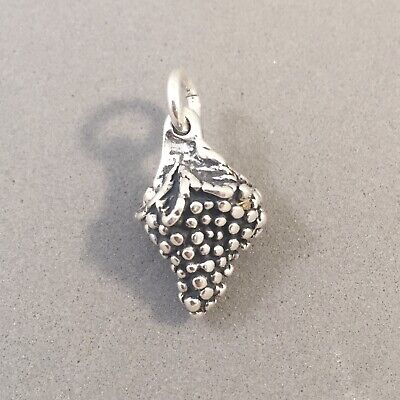 .925 Sterling Silver 3-D Heavy BUNCH OF GRAPES CHARM Pendant Wine NEW 925 KT22