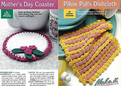 Mother's Day Coaster + Pillow Puffs Dishcloth crochet PATTERN INSTRUCTIONS