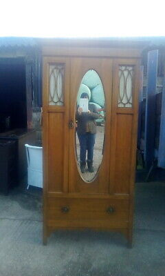 Antique Edwardian Walnut Wardrobe With Drawer