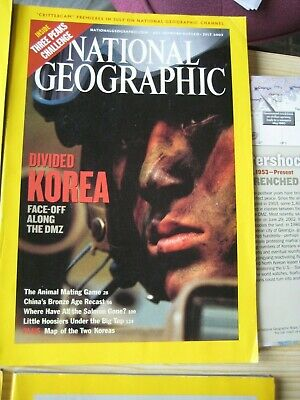 Job Lot of Nation Geographic 2003, 8 Issues, July with North Korea Map