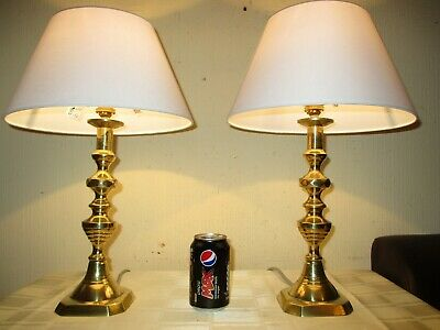 PAIR OF ANTIQUE VICTORIAN c1890s SOLID BRASS TABLE LAMPS WITH NEW SHADES....
