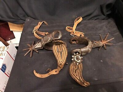 Antique Pair Hand Forged Heavy Silver Inlay Cowboy Spurs 7 Point Rowles 1800's