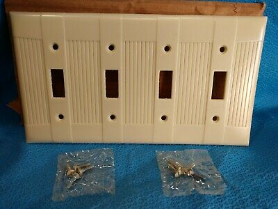 Vintage Bakelite IVORY Four Gang Switch Plate Cover Eagle TUXEDO Wall NOS 4