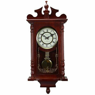 "Wooden Grandfather Style Chiming Clock Redwood Roman Numerals 25"" x 10.8"" x 4.2"""