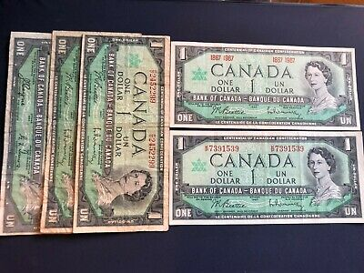 Old Canada Notes Lot *(5) One Dollar Notes *1954- 1967
