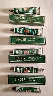 Vintage Lot (5) Singer Sewing Machine Motor Lubricant W/ Boxes