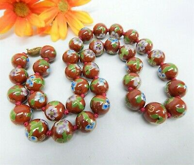 """VINTAGE HAND KNOTTED 15mm CLOISONNE ENAMELED CHINESE FLORAL BEAD NECKLACE 24"""""""