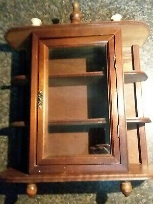 Vintage Wooden Curio Cabinet Wall Mount