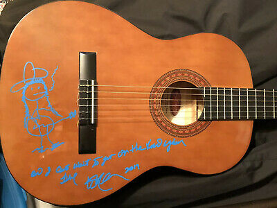 Willie Nelson Signed Classical Guitar W/ Sketch And Song Verse In Person! Rare!