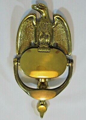 Antique Vintage Large Solid Brass American Bald Eagle Door Knocker 8.25""