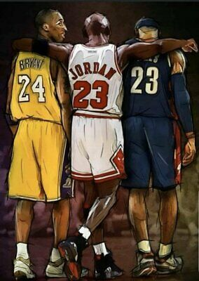 KOBE BRYANT, MICHAEL JORDAN, AND Lebron James TRIBUTE POSTER 32x24''
