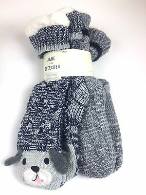 2-PAIR PACK Jane And Bleecker Chunky Plush Slipper Socks Dog Gray Navy