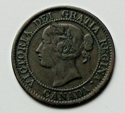 1859 CANADA Victoria Coin - Large Cent (1¢) - notable die crack leaf #10
