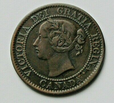 1859 CANADA Victoria Coin - Large Cent 1¢ - notable die rotation