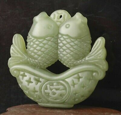Chinese old natural hetian jade hand-carved double fish pendant 1.8 inch
