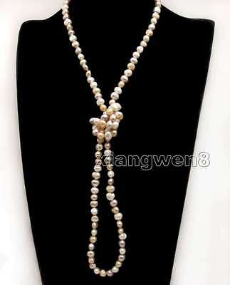 Supper Long 45/'/' 6-7mm White Baroque natural Pearl 3 Strands Necklace-5779 SALE