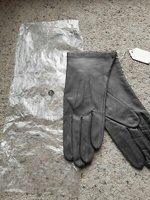 Vintage Dents Brand Ladies, Silk Lined, Leather Gloves-  Grey, Size 71/2