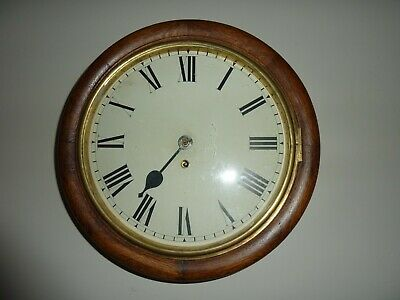 Antique English Single Fusee Wall Clock  For Spares Or Repair