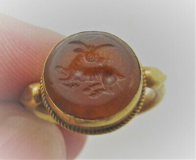 Beautiful Ancient Roman High Carat Gold Ring With Carnelian Stone Insert