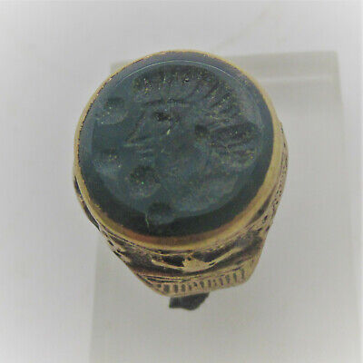 Beautiful Late Medieval Islamic Ottomans Gold Gilt Seal Ring With Stone Insert