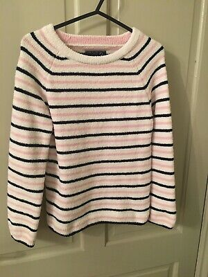 VERY COSY JOULES CHENILLE STRIPE JUMPER PINK NAVY AGE 9-10 girl