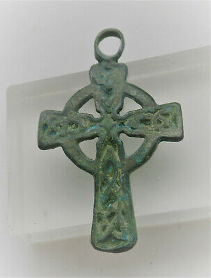 Scarce Ancient Byzantine Bronze Crusaders Cross Amulet 700Ad Wearable