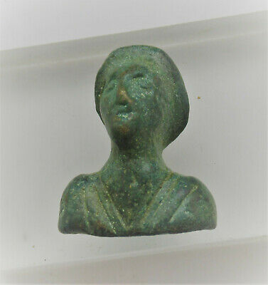 Circa 200-300Ad Ancient Roman Bronze Bust In The Form Of A Male Rare