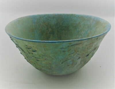 Museum Quality Ancient Sasanian Glass Bowl With Decorations And Iridescent Patin