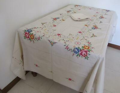 UNUSED Vintage Linen Floral Cross Stitch Embroidery Huge Banquet TABLECLOTH