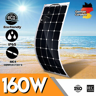 12V 160W Flexible Solar Panel Kit Mono Caravan Camping Home Battery Charge