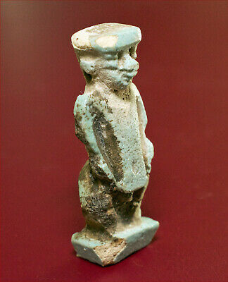 Good-sized provenanced green-glazed faience amulet of Ptah-Seker