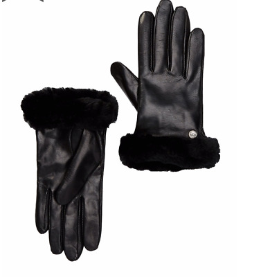 Nwt Uggs Ugg Genuine Dyed Shearling Trimmed Leather Shorty Gloves L $110