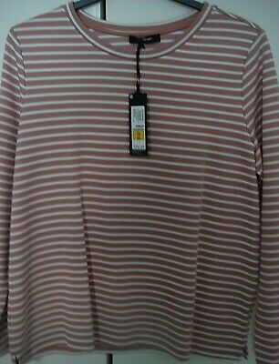 Ladies Autograph Long Sleeved Top Bnwts Size 16 Pale Pink/White Striped