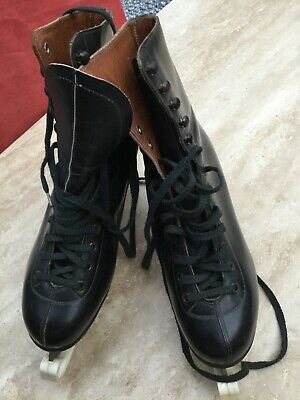 Vintage 1960s/70s Mens Black Leather Ice Skating Boots size7-Fagan Czechoslovak.