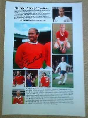 Bobby Charlton Hand Signed A4 Poster-Authentic-Photos/CareerText-ManUtd/England