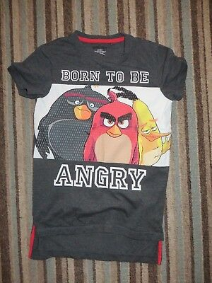 boys boy t-shirt tshirt top age 8 years short sleeved grey next angry birds