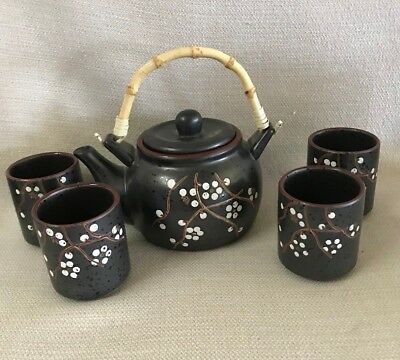 Asian Japanese Chinese Ceramic Porcelain Brown with White Floral Detail Tea Set