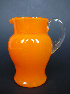 Schneider cloudy orange glass pitcher jug France Art Deco