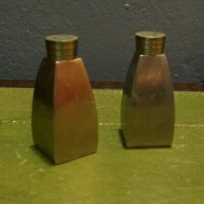Vintage Brass Salt & Pepper Shakers Made in India antique very heavy